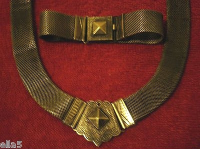 vintage 1930s brass mesh necklace bracelet set with ornate clasp