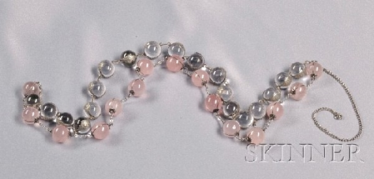 pink rose quartz and crystal pools of light necklace