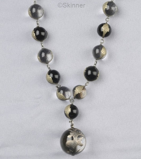 onyx and crystal pools of light necklace