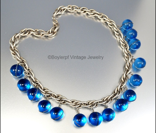 blue glass pools of light necklace