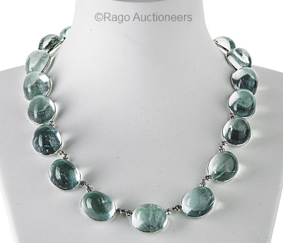 aquamarine cabochon necklace
