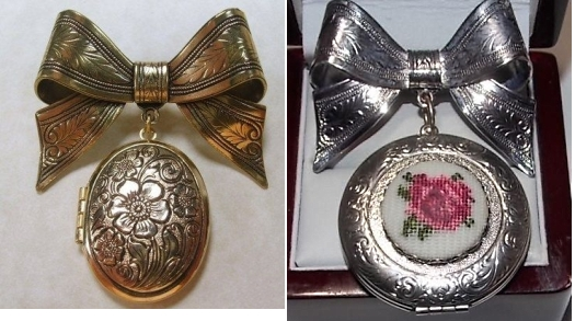1960s 1970s bow brooches with locket