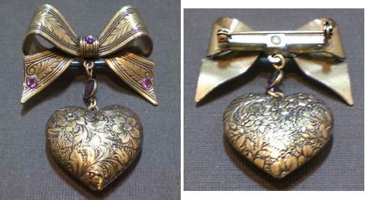 vintage reproduction bow and locket brooch