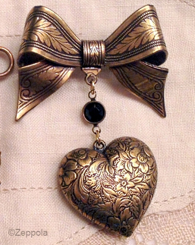 antique reproduction costume jewelry bow brooch