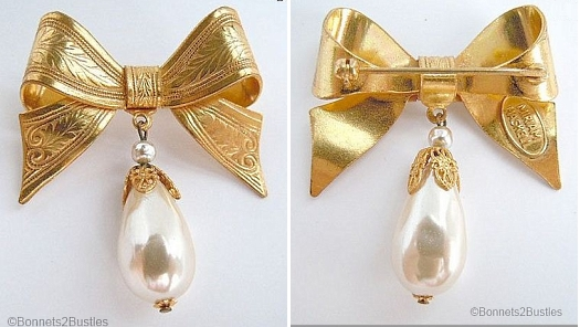 Miriam Haskell antique repro bow brooch with faux pearl drop