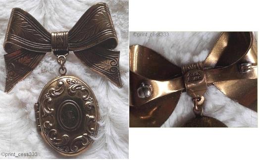 Sadie Green 1980s bow brooch with locket