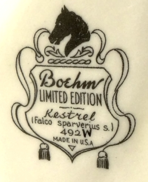 Boehm kestrel pair backstamp