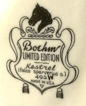 Boehm kestrel pair backstamp