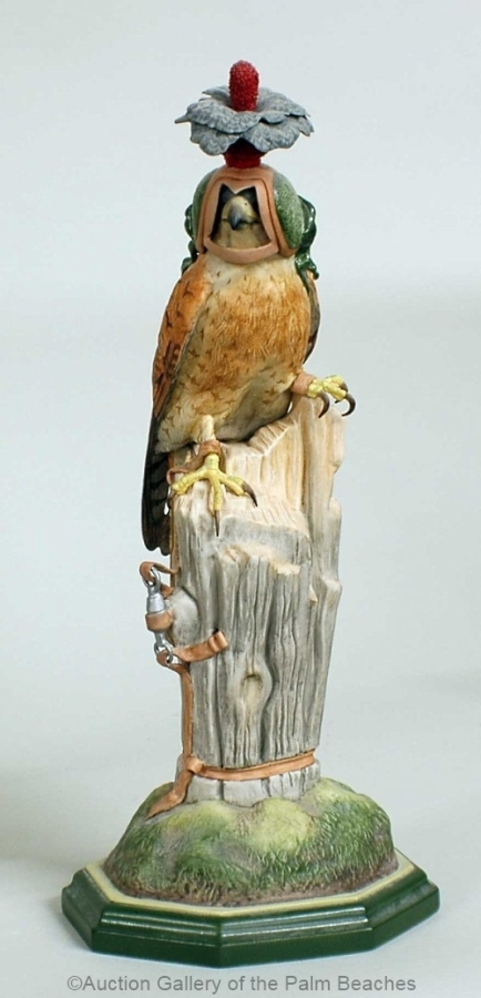 Boehm kestrel wearing hood