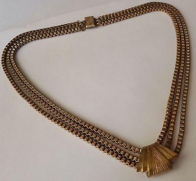 art deco brass chevron box chain necklace
