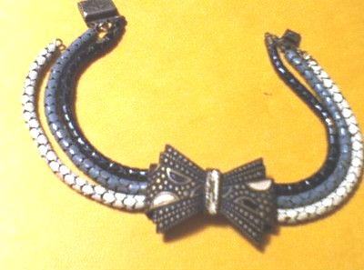 black grey white enamel snake chain bow bracelet 1930s