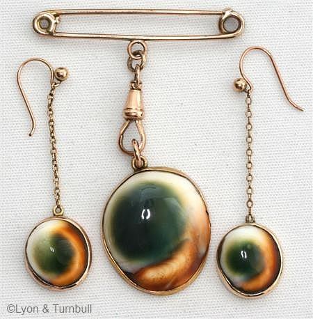 operculum brooch and earrings