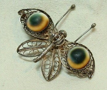 operculum filigree butterfly brooch