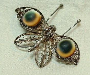 operculum filigree butterfly brooch