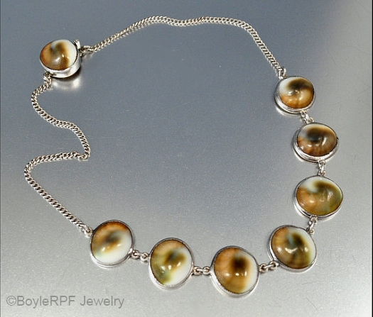 operculum and sterling necklace from Boylerpf Jewelry