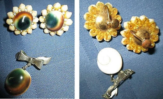 operculum costume jewelry earrings and brooch