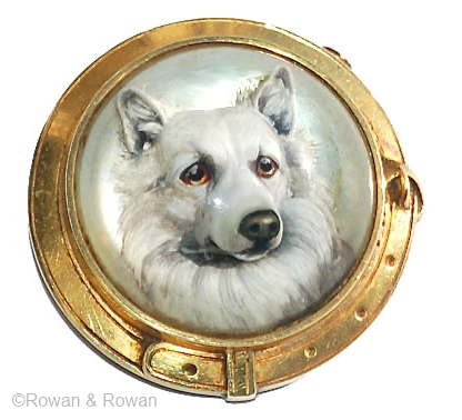 """The 3/4"""" diameter crystal is set into an 18k gold brooch mounting designed as a dog collar (1 1/8"""" diameter overall.)"""