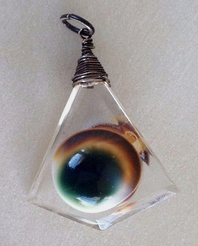 operculum and glass or lucite acrylic pendant