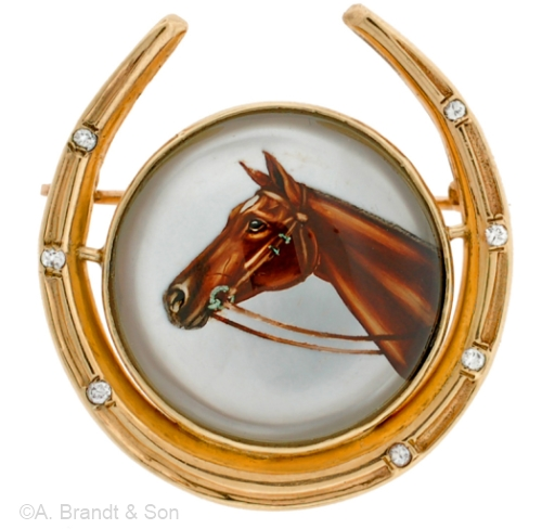 """Diamond-accented 14k gold horseshoe brooch, about 1 1/2"""" tall; crystal is about 1"""" in diameter."""