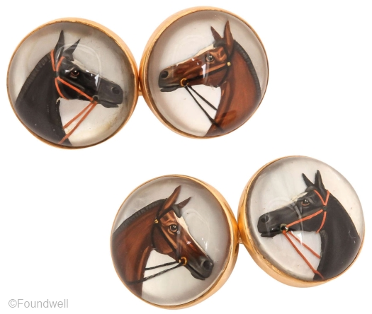 "Pair of 14k gold horse head cufflinks, each crystal just over 1/2"" diameter."