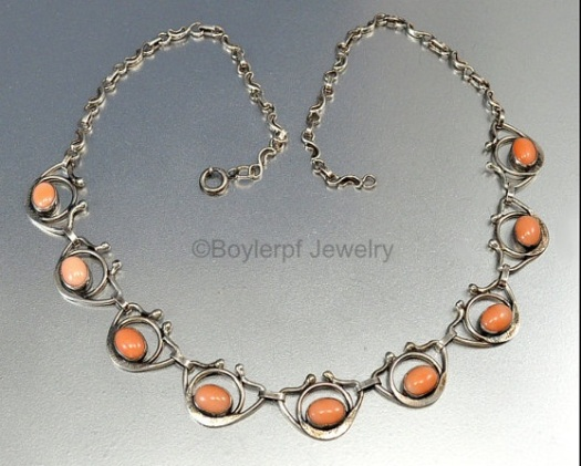 vintage sterling and coral necklace
