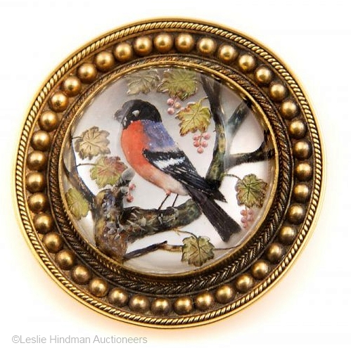 Essex crystal bird in tree round brooch