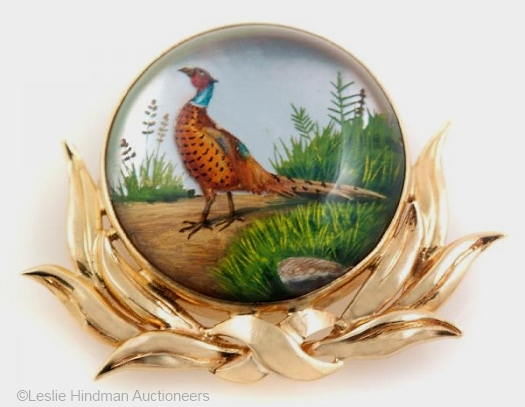 Essex crystal pheasant in the marshes brooch