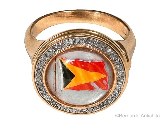 Essex crystal gold and diamond nautical flag ring