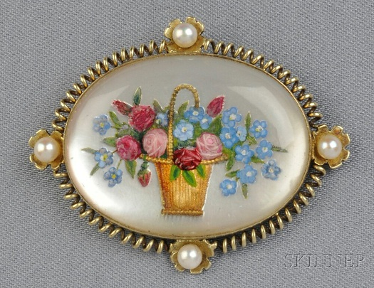 reverse carved crystal roses and forget me nots basket brooch
