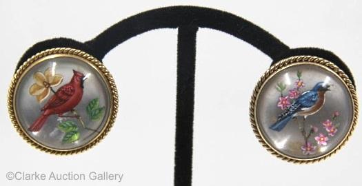 Essex crystal bluebird and cardinal earrings