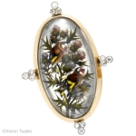 Essex crystal European goldfinch and thistle diamond ring