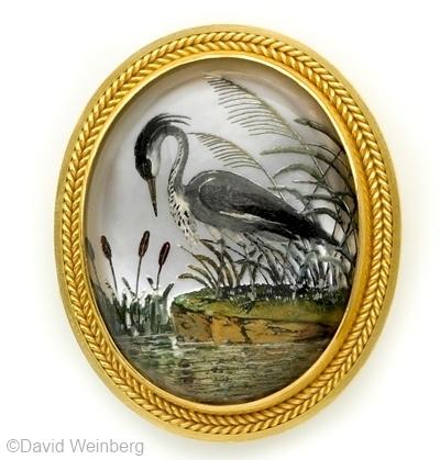 Essex crystal heron at waterside brooch