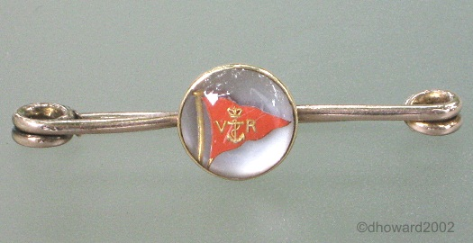 Royal Victoria Yacht club pennant Essex crystal bar brooch