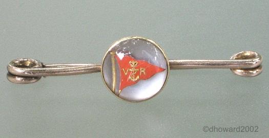 Royal Victoria Yacht club pennant Essex crystal bar brooch