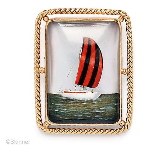 Essex crystal sailboat brooch with rope border