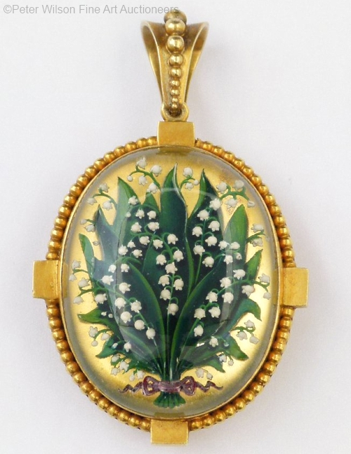 antique Essex crystal lily of the valley pendant