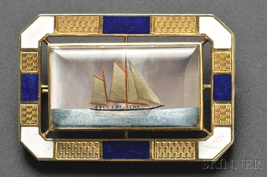 Essex crystal and enamel Victorian yacht brooch