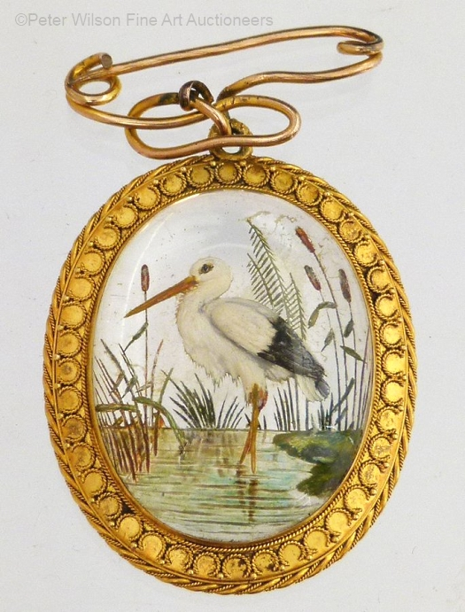 Essex crystal heron or shorebird in a pond brooch
