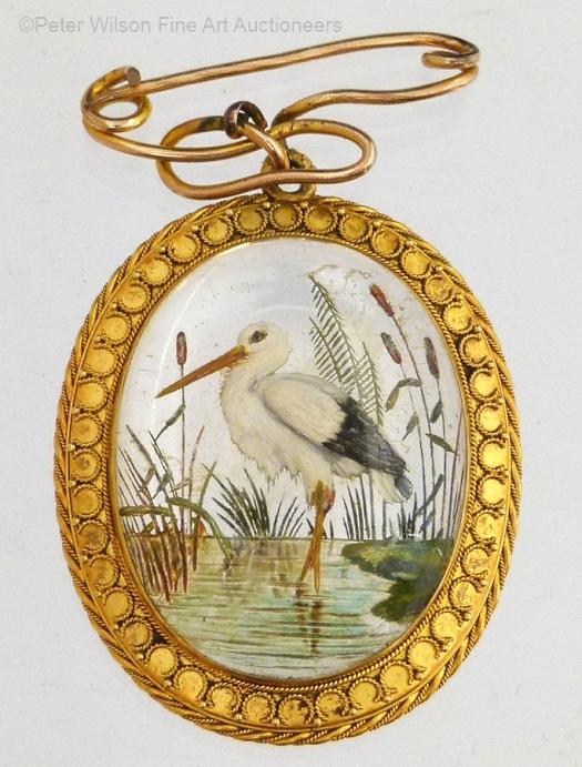Essex crystal heron or shorebird in a pond brooch
