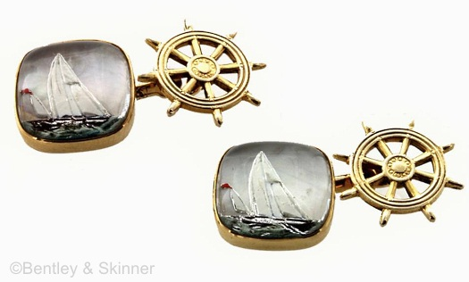 sailboat and ships wheel cufflinks in Essex crystal