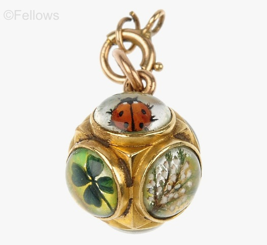 antique Essex crystal good luck pendant