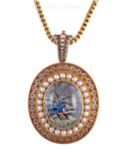antique Essex crystal pearl and enamel kingfisher pendant necklace