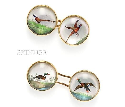 Essen crystal pheasant and duck cufflinks