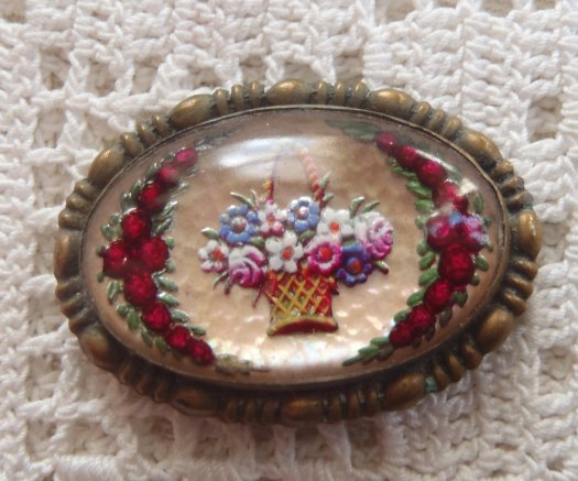 reverse carved glass flower basket brooch