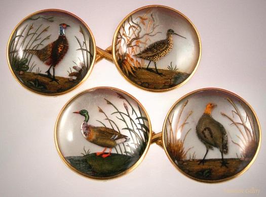 Essex crystal game bird cufflinks