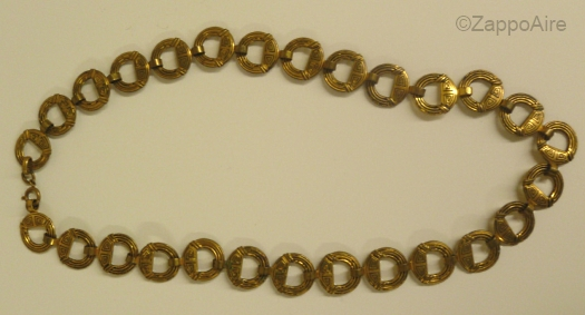 brass celtic greek circles art deco necklace 1930s