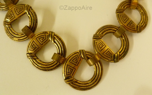 brass celtic greek necklace detail