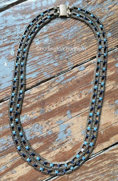 double link chain blue enamel necklace 1930s art deco