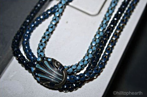 triple blue snake chain necklace with oval cartouche v1