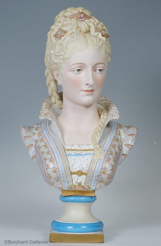01b Paul Duboy lady bust in blue and white